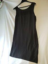 Cynthia Rowley Black Silk Dress Womens Size 10 Sleeveless Tie Back Sheath Lined