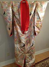 Japanese Uchikake Wedding Ceremonial Kimono Gold Red Embroidered Chinese Eastern
