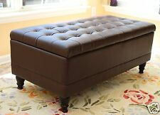 Tufted Storage Ottoman Dark Brown Faux Leather Bench Foot Rest Coffee Table NEW
