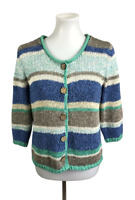 J.Jill Women's Size S Striped Open Knit Cardigan Sweater Wooden Buttons Ramie