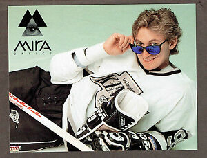 """1991 Wayne Gretzky Kings """"MIRA NIGHT"""" Ad Card, 5.5""""x7"""", with Auto'd Puck Offer"""