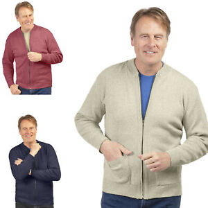 Mens Gents Classic Style Plain Design Long Sleeve Zip Cardigan Jumper Zipper