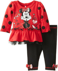 NEW Disney Minnie Mouse Baby Girls Newborn 0-3M Red Long Sleeve Top Leggings Set