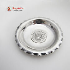 Hand Made Round Ribbed Rim Bowl Coin Medallion Sterling Silver Peru 1940