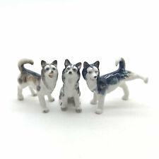 3 Siberian Husky Alaskan Malamute Dog Ceramic Figurine Animal Statue - Cdg061