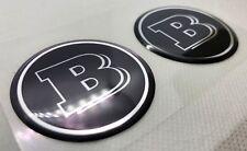 2pcs x MERCEDES BENZ  BRABUS logo (Dia 50mm). Domed 3D Stickers/Decals.