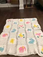 New listing vintage crocheted baby blanket with animals