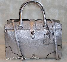 New COACH Mercer 30 Satchel Grain Leather Bag Purse Handbag Silver $395