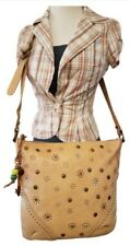 NEW WITH TAGS FOSSIL PURSE SHOULDER BAG BEIGE LEATHER FLORAL STUDDED DECORATIONS