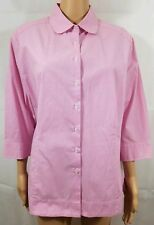Riders Lee Shirt Pink White Striped L/S Button Down Casual Slimming Summer Sz XL