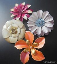 "BEAUTIFUL 4pc LOT vintage METAL enamel FLOWER PINS 2.5"" dimensional PETALS E18"