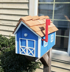 Amish Crafted Country Blue w/ White Trim Barn Style Mailbox - Lancaster Cnty PA