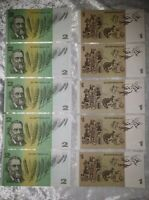 $1 One & $2 Two Dollar - UNCIRULATED CONSECUTIVE NUMBERED -  5 x EACH NOTE