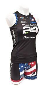 Wattie Ink Herbalife 24 Stars & Stripes Slvless Triathlon Kit Women MEDIUM Tri