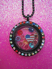 Living Memory Multi Crystal Black Round Locket with 7 crystals and charm USA