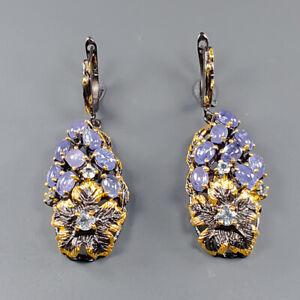 Jewelry Art Design Tanzanite Earrings Silver 925 Sterling   /E51693