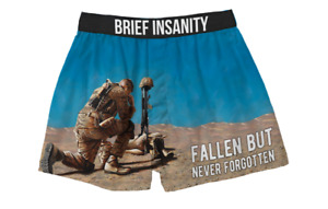 Brief Insanity Fallen but not Forgotten USA Military Boxer Shorts Underwear 7029