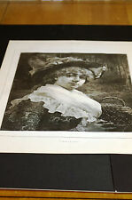 Young Girl w Big Hat and BASKET of CHERRIES 1883 Large Engraving MINT
