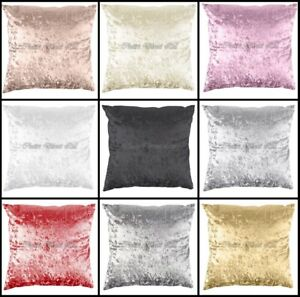"""2x Crushed Velvet Handmade Sofa Scatter Pillow Cushion Case Zipped Cover - 18"""""""