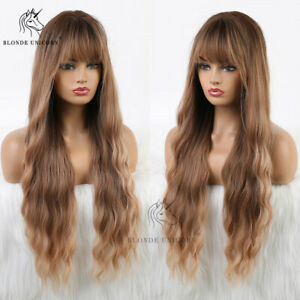 Long Dark Blonde Wavy Curly Wigs With Bangs for Women Natural Looking Daily WIGS