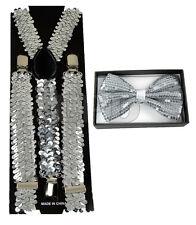 Silver Sequin Suspenders & Silver Sequin Shiny Bow Tie Set Tuxedo Combo