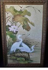 "WHITE EGRETS,  56"" X 36"" , VINTAGE WINDSOR ART ON CANVAS, GILT FRAMED"