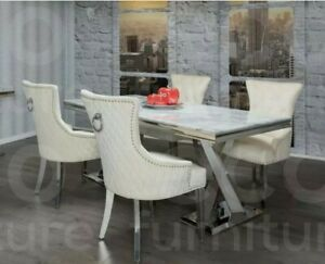 Cream  Knocker Ring Back & Studs Accent Dining Chairs Chrome Legs .