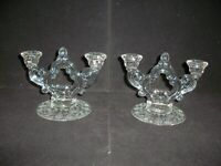 Cambridge Rose Point Etched Glass Pair of  2 Lite Key Hole Candle Holders