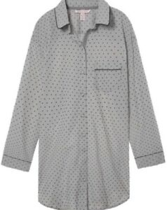 Victoria's Secret Gray Polka Dot Button Down Sleep-shirt ~ Size Large