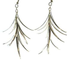 Long Drop Dangle Silver Tone Christmas Tree Style Earrings