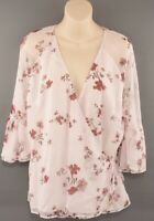 LAUREN RALPH LAUREN Women's Wrap Around Floral Chiffon Top, size L