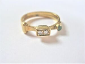 Ring Gold 750 with Diamonds And Emerald, 3,4 G