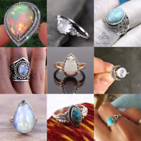 Charm Jewelry Women Men 925 Silver  Gemstone Wedding Engagement Ring Size 6-10