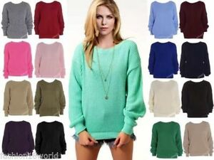 LADIES OVERSIZED BAGGY CHUNKY JUMPER KNITTED WOMENS SWEATER THICK KNIT TOP