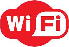WIFI Plain RED Pub Cafe Bar Hotel Area Free Zone Sticker 200x140mm