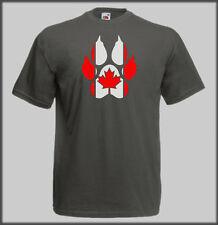 SLED DOG SPIRIT CANADA CANADIAN PAW HUSKY T SHIRT CANI CROSS BIKE SCOOER JOR