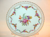 MULTICOLORED SCHUMANN BAVARIA DRESDEN FLOWERS FINE PORCELAIN RETICULATED PLATE