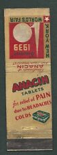 1939 NY WORLDS FAIR MATCH BOOK COVER ANACIN PAIN TABLETS ADVERTISING