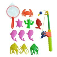 Magnetic Fishing Toy Rod Model Net 10 Fish Kid Children Baby Bath Time Fun  L2D6
