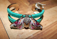 Anthropologie Bracelet Butterfly Painted Metal Cuff Multi Color Rhinestone #1425