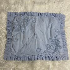 Mary Jane's Farm Home Blue Chenille Pillow Sham Standard Ruffle Medallion