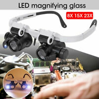 25X Magnifier Headband w LED Light Head Mounted Magnifying Glasses 8 Lens US