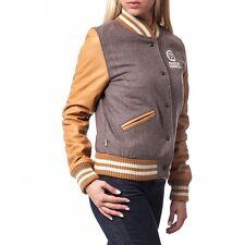 280$ Franklin Marshall women university baseball wool leather jacket Sz L NWT