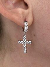 Solid 925 Sterling Silver Men Ladies Dangle Cross Hoop Earrings Iced Diamond