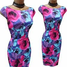 Karen Millen Satin Purple Blue Floral Roses Wiggle Pencil Cocktail Dress 10 UK