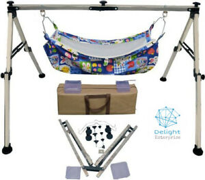 Portable Folding Baby Swing Cradle Black Colored Square Stainless Steel Body