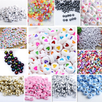NEW 200/1000pcs 7mm Mixed  A-Z Alphabet/Letter Acrylic Spacer Beads heart bead