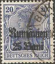 USED 1918 ROMANIA Stamp GERMAN EMPIRE GERMANIA 25 Bani on 20 Pfennig OVERPRINT