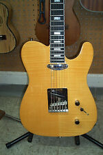JCM Natural Flamed Maple Archtop Tele Style Guitar, Block Neck Inlays, Blem