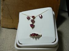 SALE   BRAND NEW 10K YELLOW GOLD AND LAB CREATED RUBY SET   BD1